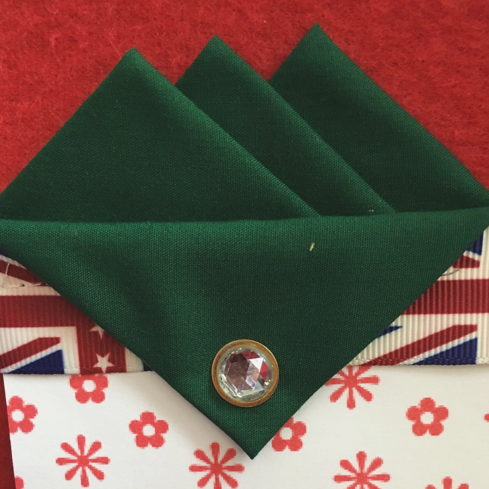 Green (Dark Green) Three Point Pocket Hankie & Pin
